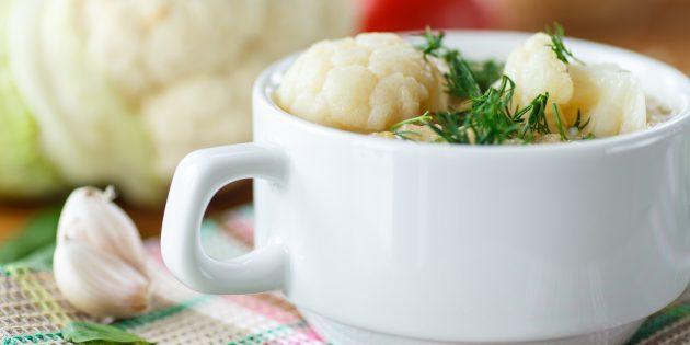 Картофельный суп из шампиньонов с цветной капустой
