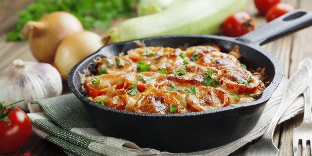 Запеканка из кабачков с адыгейским сыром и помидорами