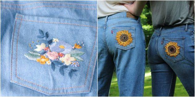 как зашить дырку на джинсах