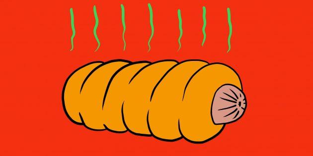 Сосиска в тесте на жаре
