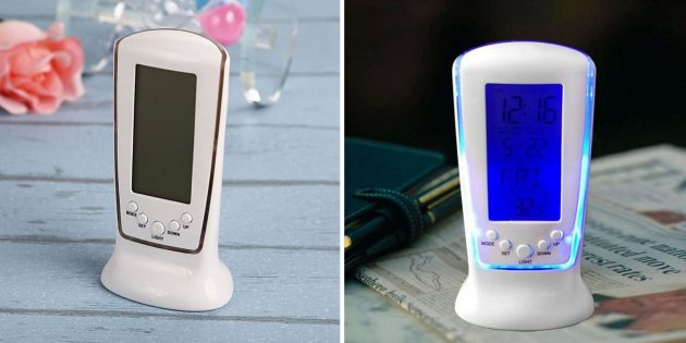 Будильник с термометром и календарём