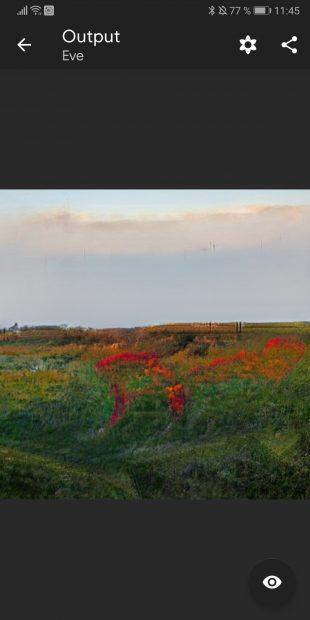 Готовая картинка в приложении, которое превращает ваши рисунки в фотореалистичные пейзажи