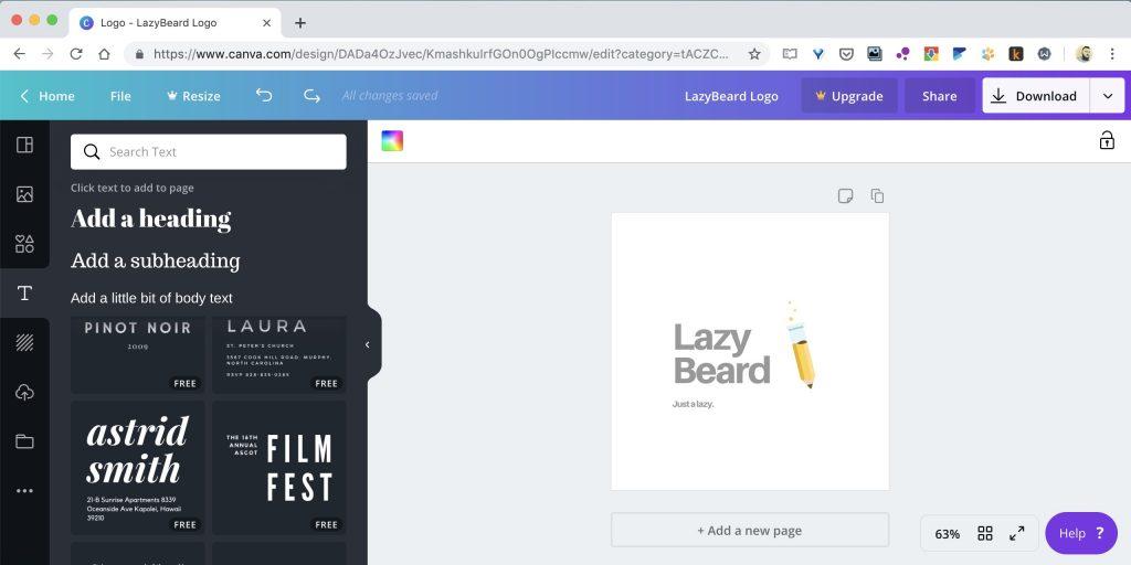 Как создать логотип онлайн на сайте Canva