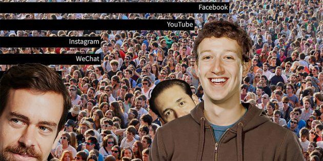 График: рост самых популярных социальных сетей за 16 лет