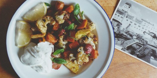 Овощи в духовке с мятой, имбирём и тмином