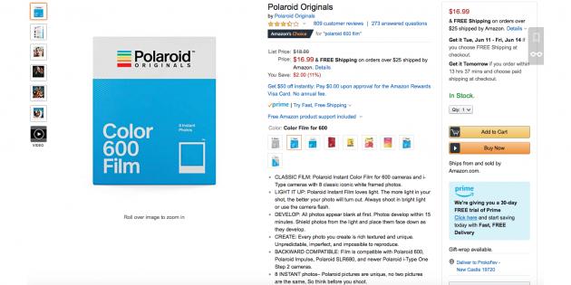 Mainbox: картридж для фотоаппарата Polaroid