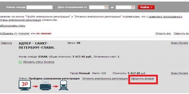 Возврат билетов РЖД в личном кабинете на сайте