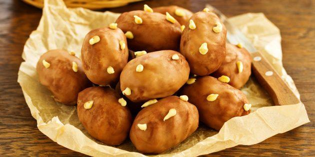 Рецепт: пирожное картошка в глазури