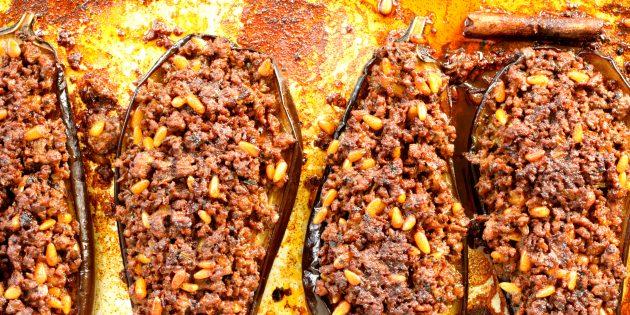 Фаршированные баклажаны с бараниной и кедровыми орешками