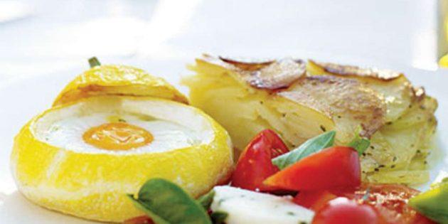 Рецепт патиссонов, запечённых с яйцами