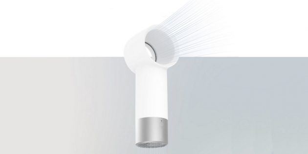 портативный вентилятор Xiaomi забирает воздух снизу и выпускает поток через кольцо сверху