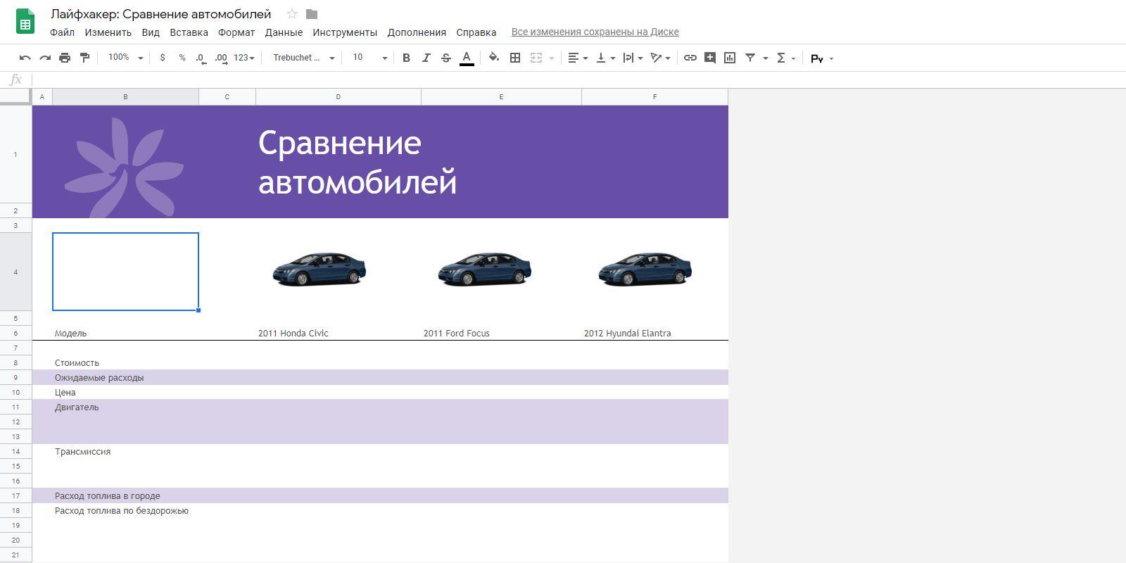 «Google Таблицы»: шаблон «Сравнение автомобилей»