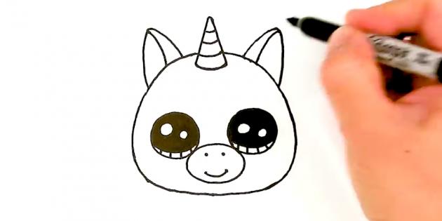 Нарисуйте голову, рог и ушки