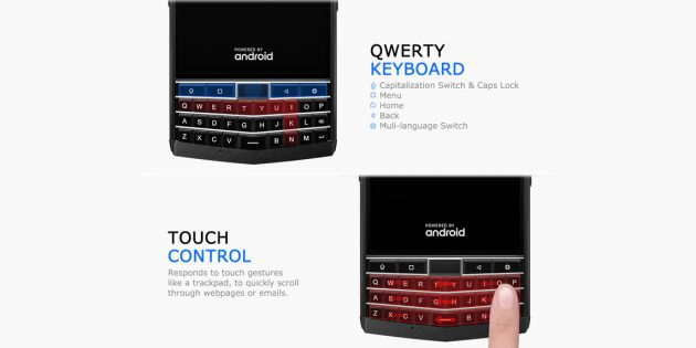 QWERTY-клавиатура прочного смартфона Unihertz Titan
