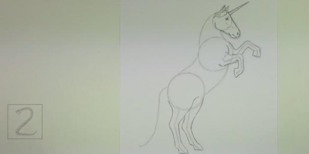 По вспомогательным линиям нарисуйте передние и задние ноги единорога