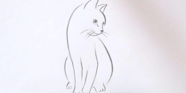 Как нарисовать сидящую кошку в реалистичном стиле