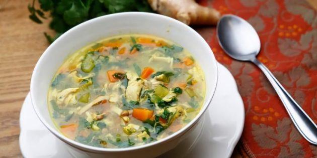 Рецепт куриного супа с чечевицей и имбирём