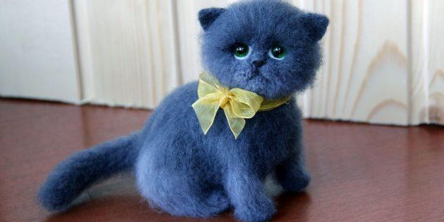 Котик в технике фелтинга