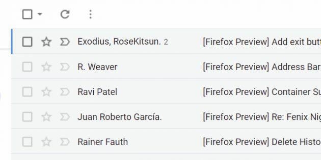 Как выглядит выбранное письмо в Gmail