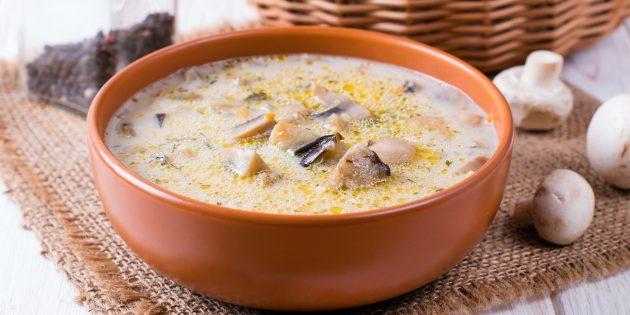 Суп из кабачков с грибами и плавленым сыром