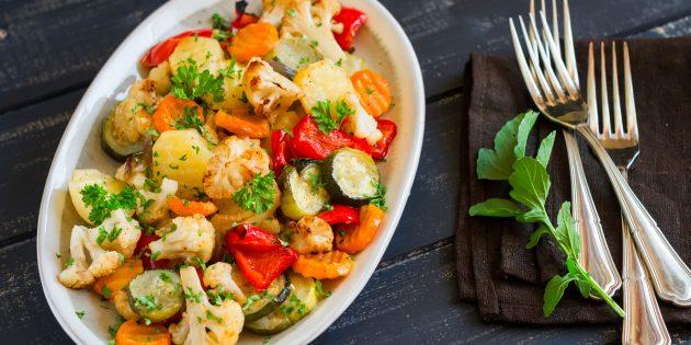 Рецепты: запечённые овощи в духовке с мятой, имбирём и тмином
