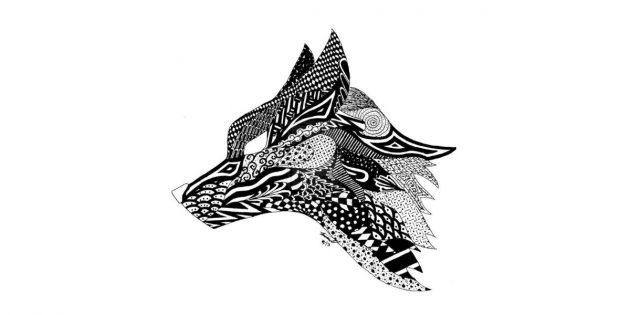Волк в стиле зентангл
