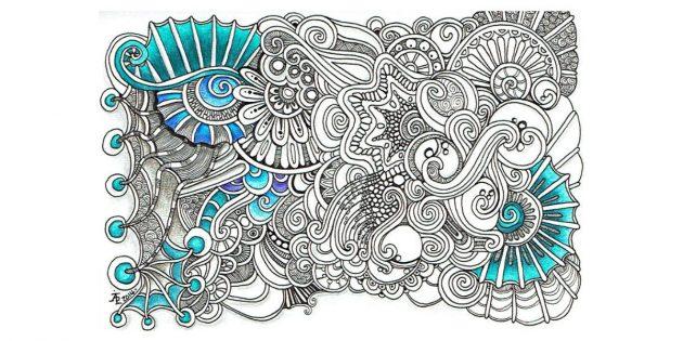 Рисунок в стиле зентангл с цветными элементами
