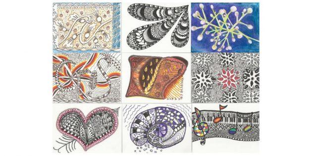 Несколько идей для цветных танглов