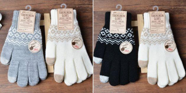 Вязаные перчатки с сенсорными пальцами