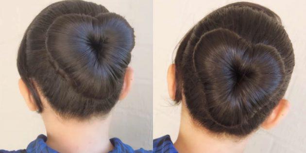 Причёски для девочек: высокий пучок в форме сердечка