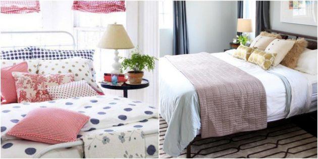 Интерьер спальни: яркое постельное бельё