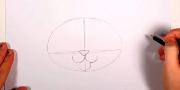 На пересечении линий обозначьте нос в виде треугольника