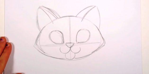 Над носом прорисуйте капельки — очертания глаз — и наметьте кошачьи ушки