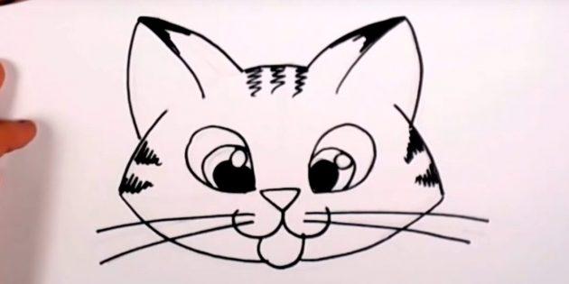 Как нарисовать мордочку кошки в мультяшном стиле