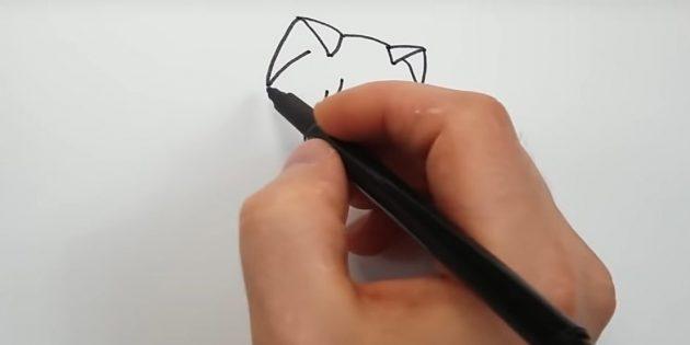 Сверху нарисуйте уши в виде треугольников и соедините их плавной линией