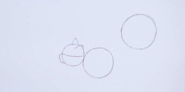 Справа вверху тоже изобразите круг ещё большего размера, чем предыдущий