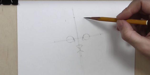 Отмерьте промежуток между серединками глаз и на таком же расстоянии от них отметьте точки на горизонтальной линии
