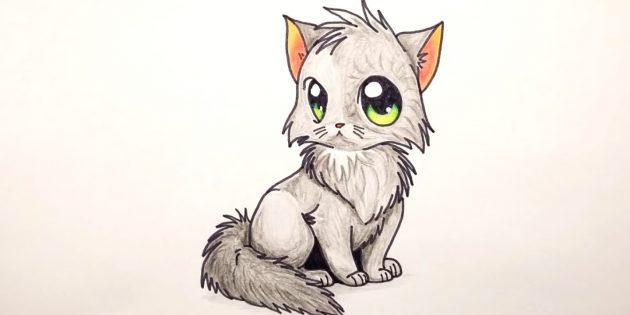 Как нарисовать сидящую кошку в стиле аниме