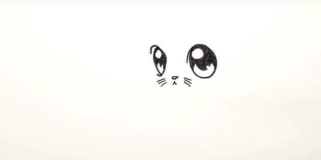 Внизу между глаз нарисуйте маленький треугольный носик