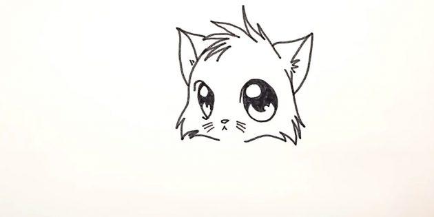 Как нарисовать кошку аниме: Прорисуйте шёрстку в нижней части головы
