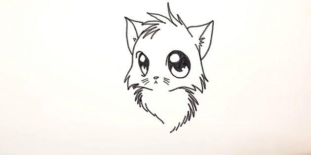 Как нарисовать кошку аниме: Внизу зигзагами и прерывистыми линиями подрисуйте пушистую грудку