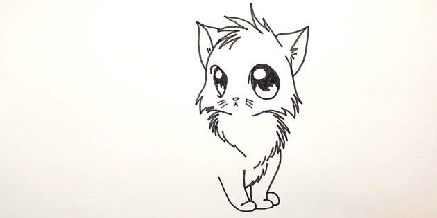 Как нарисовать кошку аниме: Справа внизу пририсуйте ступню задней лапки
