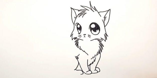Как нарисовать кошку аниме: Над первой передней лапой изобразите шерсть
