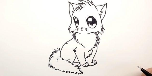 Как нарисовать кошку аниме: Слева добавьте спинку, а внизу — пушистый хвост