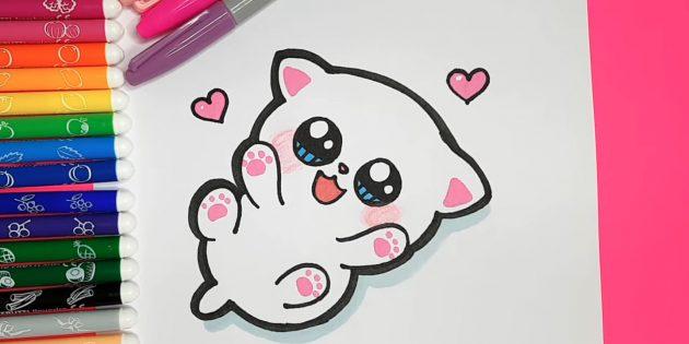 Как нарисовать лежащую кошку в стиле аниме