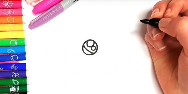 Как нарисовать кошку аниме: Вверху нарисуйте два разных кружочка