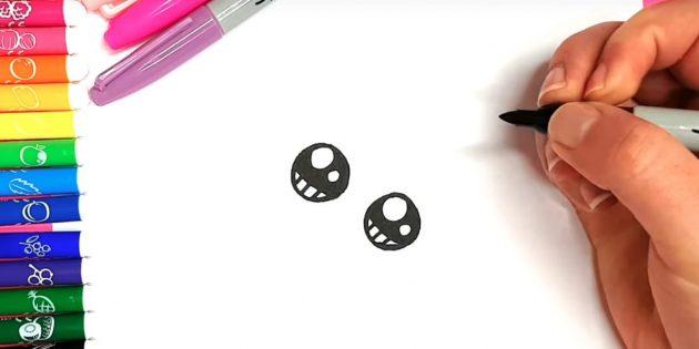 Как нарисовать кошку аниме: Закрасьте пространство над линией, а внизу поставьте три вертикальные чёрточки