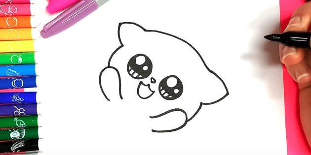 Как нарисовать кошку аниме: Слева и справа под глазами наметьте очертания лапок, а сверху — головы и ушей