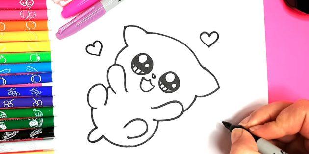 Как нарисовать кошку аниме: Вокруг выведите сердечки