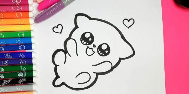 Как нарисовать кошку аниме: Толстым маркером обведите внешние контуры кошки